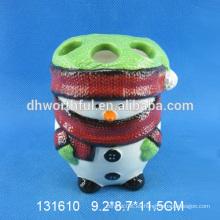 Único accesorios de baño de Navidad, titular de cepillo de dientes de cerámica de Navidad