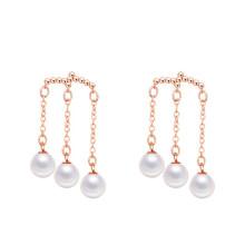 Or rose / rhodié 3 Mère de perles pendent la boucle d'oreille