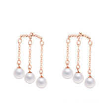 rose gold/rhodium plated 3 Mother of pearls dangle earring