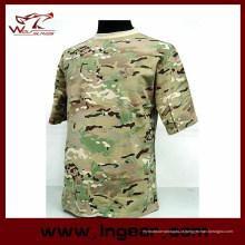 Camiseta de manga curta moda tático militar camuflagem