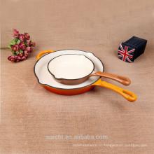 Сковорода с круглой чугунной эмалью с одной длинной ручкой