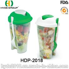 Taza de coctelera plástica del envase de ensalada caliente de las ventas con la bifurcación (HDP-2018)