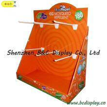 Boîte de présentation en bois de PDQ de Customzied qui respecte l'environnement avec des crochets en plastique (B & C-D056)