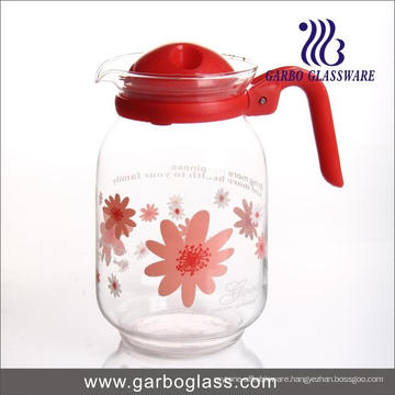 1600ml Flower Decal Glass Water Pot with Cover