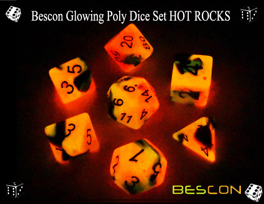 Bescon Glowing Poly Dice Set HOT ROCKS-3