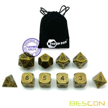 Bescon+10pcs+Set+Ancient+Brass+Solid+Metal+Polyhedral+Dice+Set%2C+Old+Finish+Bronze+Metal+RPG+Role+Playing+Game+Dice+7%2B3+Extra+D6s