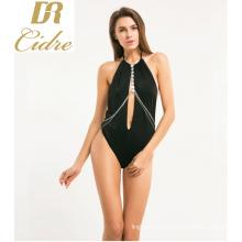 New Style Women Babydall Deep-V Bodysuit Black backless Lingerie