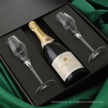 Schwarzes bedrucktes Papier Wein Verpackungsboxen mit Einsatz