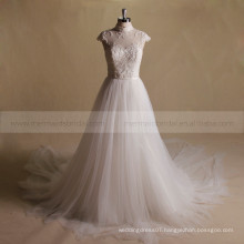 Exuqisite beads work and applique lace A-line long train wedding gown
