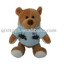 teddybear de pelúcia e recheado com casaco esporte, brinquedo animal macio