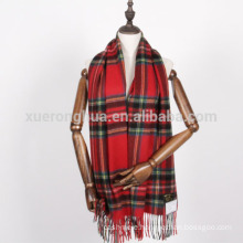 oversized wool scarf in plaid