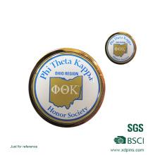 Металл напечатанный логотип компании круглый pin отворотом для Бейджа