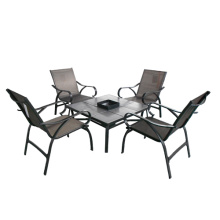 Garden/Outdoor sling furniture 5pc chat set-with firebox