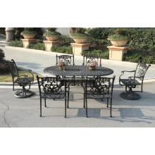 Elenco de alumínio Metal jantar conjunto Oudoor mobiliário de jardim