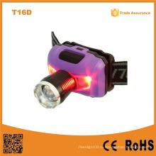 T16D Мощный XPE LED + 2red SMD Телескопический светодиодный фонарь AAA Аккумулятор