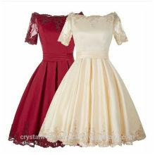 Vente en gros de bonne qualité Elegant New O Neck manches courtes Rouge Champagne Lace Short A Line Robes de demoiselle d'honneur LBS18