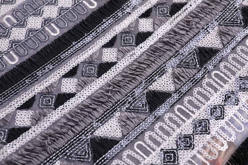 Black White Sequin Fabric