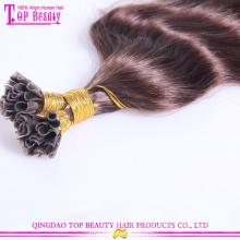 Mais populares u dica cabelo melhor qualidade remy u ponta queratina extensão do cabelo humano