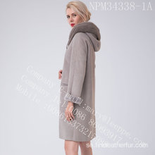 Bias dragkedja Spanien Merino Shearling Overcoat Winter