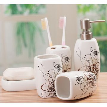 5 PC Of Ceramic Bath Set Flower Printed