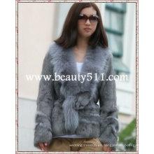 Fah022 OEM venta al por mayor de piel de prendas de vestir de piel de piel de conejo de piel de visón piel de ropa chaqueta de piel