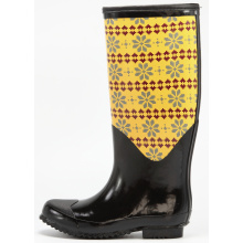 Yellow Flower Printing Rubber Rain Boots