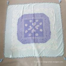 Écharpe bleue imprimée Madame Silk Cotton