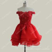 RP0104 100% real customed organza curto sexy fora do ombro rebordeado rendas vestidos vermelhos de regresso a casa
