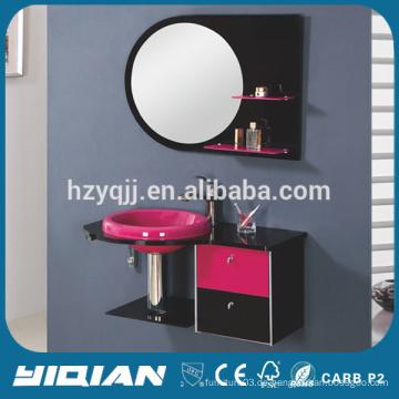 Moderne Wandmontierte Edelstahl-Rahmen-gehärtete Glas-WC-Eitelkeit