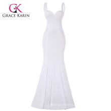 Grace Karin Sexy Blanco Occidente Mujeres Padded Backless V-cuello Long Sirena vestido de fiesta CL008943-2