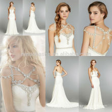 Charming 2014 Sweetheart Backless Pleats Beaded Sash Long Chiffon Mermaid Wedding Dress With Detachable Crystal Neckline NB0680