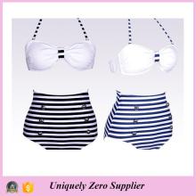 2016 Hot Sale Trendy Navy Designs Azul e Branco Stripes Tankini Bikini com cintura alta Shorts