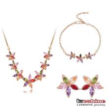 Ensembles de bijoux en zircon en fleurs multicolores plaqué or 18 carats (CST0008-C)