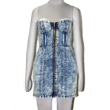Womens Denim Tube Dress