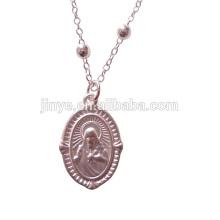 Collar de cadena de rosario de plata mate simple de moda