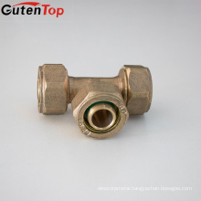 GutenTop Higher Quality Brass Compression Fittings Equal Tee C x C x C for PEX AL PEX Pipe