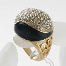 Fashion jewelry Cute black enamel Rhinestone ball women Rings mix color and style good gift Wholesale
