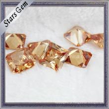 Princess Cut Square Charme Champagne Cubic Zirconia Gemstone para Jóias