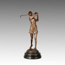 Sports Bronze Sculpture Golf Player Carving Decor Brass Statue, Milo TPE-748
