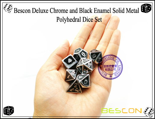 Bescon Deluxe Chrome and Black Enamel Solid Metal Polyhedral Role Playing RPG Game Dice Set (7 Die in Pack)-7
