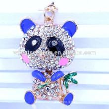 Moda Yiwu jóias 2015 melhor venda OEM panda cristal de metal keychain atacado