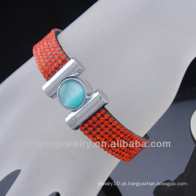 Fivela de ímã 6 Linhas Braceletes de couro Rhinestones slake pulseira BCR-001