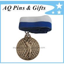 3D Golf Medal with V Shape Ribbon