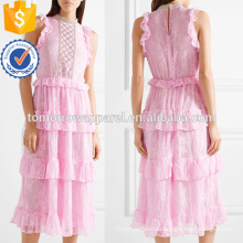 Новая мода без рукавов Раффлед слоистых розовый нейлона-Миди, летние платья Производство Оптовая продажа женской одежды (TA0255D)