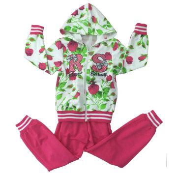 Traje de Terry francés de la muchacha de la moda en el desgaste del deporte de la ropa de los niños (SWG-117)