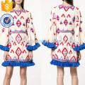 Übergroße mehrfarbige Quaste Trim ausgestelltes Langarm Sommer Minikleid Herstellung Großhandel Mode Frauen Bekleidung (TA0008D)