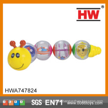 Hot Sale plastic toy rattle bell plastic baby toy caterpillar toys
