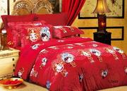Eco-Friendly Reactive Dye Floral Bedding Sets Red for Tradi