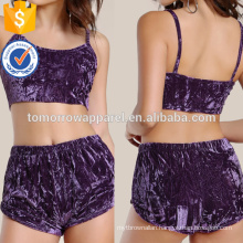 Velvet Crop Top And Shorts Manufacture Wholesale Fashion Women Apparel (TA4034SS)