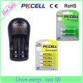 PKCELL marca 2 carregador de bateria de slot 8126 para bateria AA AAA 9V